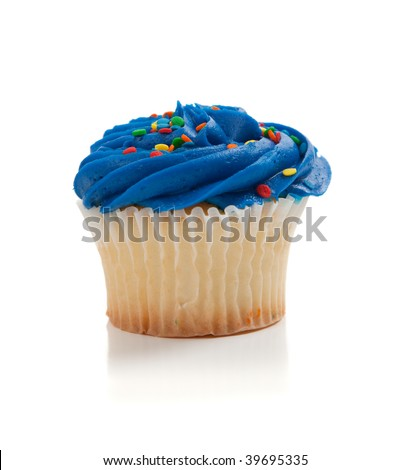 Blue Cupcake with colored sprinkles on a white background