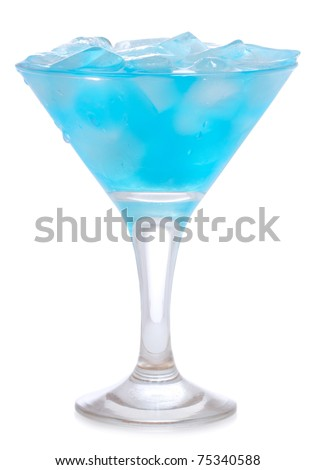 Blue Curacao cocktail on white background