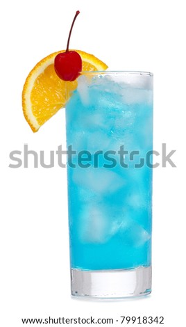 Blue Curacao cocktail with orange on white background