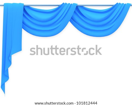 blue  curtain on white background