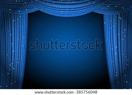 Blue Curtains On Blue Background With Glittering Stars. Open ...