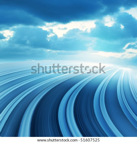 Blue curved abstract highway road with blurred fast motion, computer generated illustration with blue cloudy sky