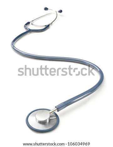 Blue curved stethoscope on white background.