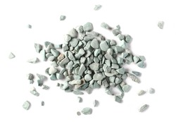 Blue, cyan rocks, pebbles, stones pile isolated on white background, top view
