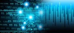 blue Cyber digital data technology background