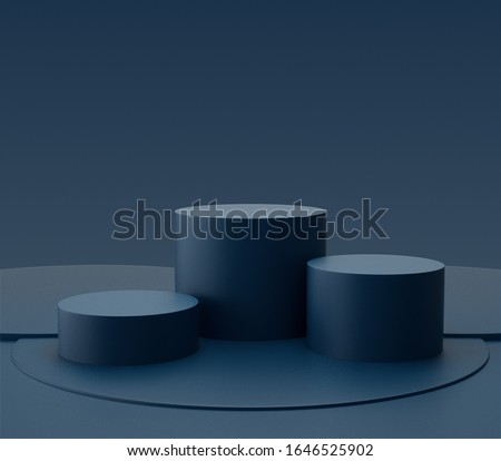 Blue cylinder shape of product display with modern concept, Pedestal, Podium, Stand, 3D Rendering. Zdjęcia stock ©