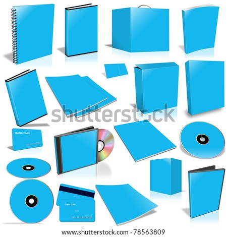 Blue 3d blank cover collection, isolated on white