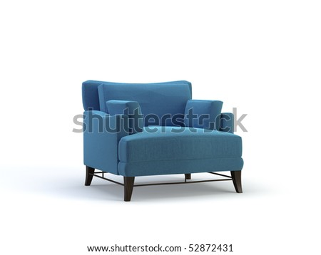 blue 3d chair on the white background