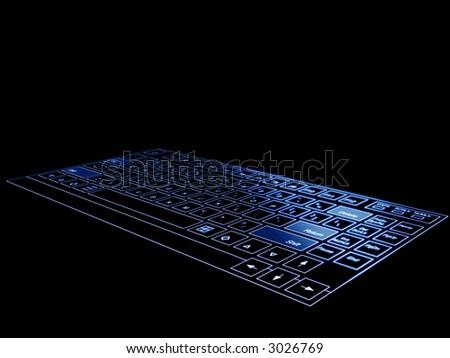 High tech computer blue 3d hi tech computer