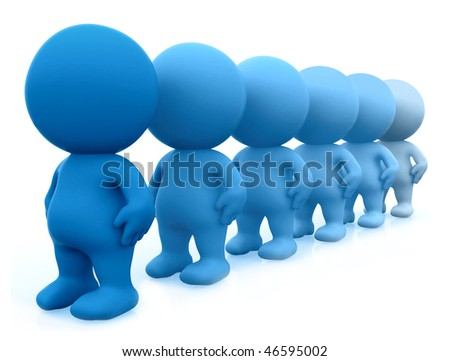 Blue 3D men standing in line isolated over a white background
