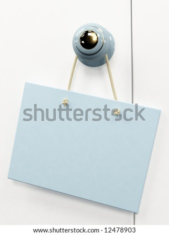 Blue 3d tablet, hanging on the door handle
