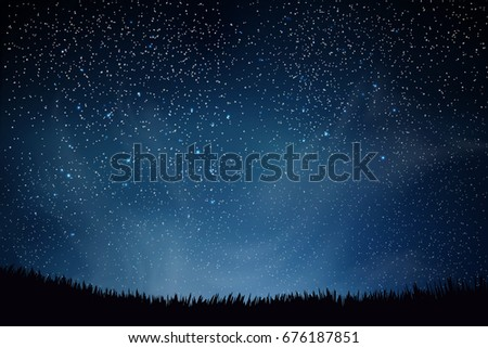 Blue dark night sky with lot of shiny stars, clouds  natural background above field of grass.  illustration.