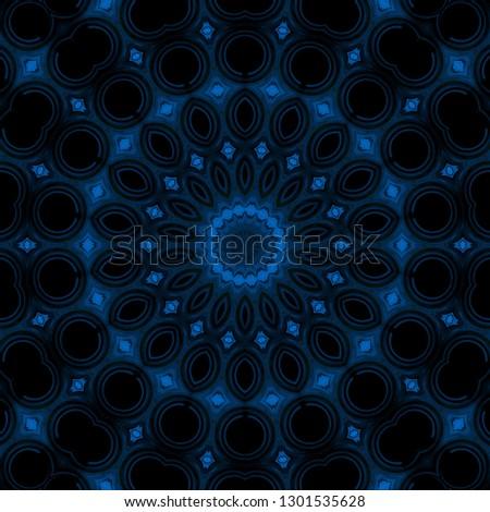 blue dark pattern kaleidoscope abstract background motif. geometric.