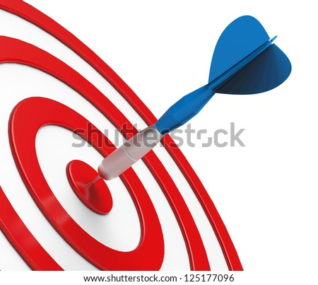 Blue Dart on Red Target Close-up
