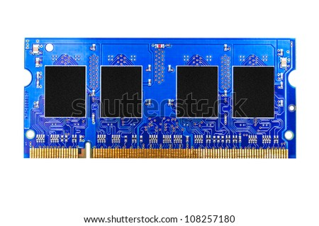 Blue DDR RAM memory module isolated on white background
