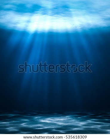 Blue deep water abstract natural background. #535618309