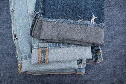 Blue Denim Jeans Cuffs Rolled Up