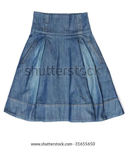 Blue denim skirt isolated on white background
