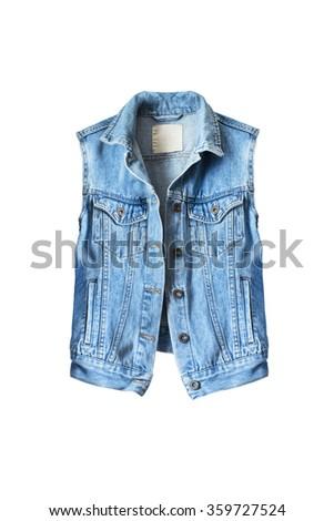 Blue denim vest on white background
