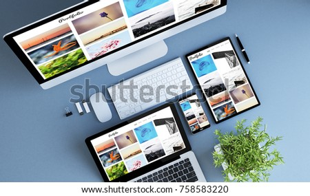 blue devices top view creative photo portfolio 3d rendering.