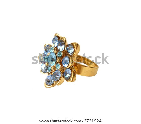 Blue diamond ring on white background