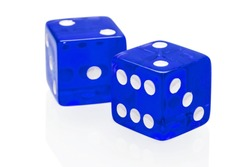 Blue dices isolated on a white background