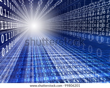 Blue digital background with numbers and light