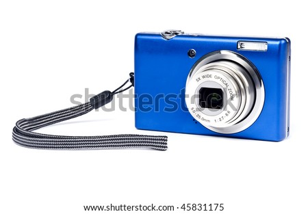 Blue Digital Camera Isolated on White