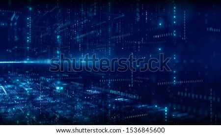 Blue digital cyberspace and digital matrix with particles and lighting. Digital data network connections and digital data analysis process concept. abstract background.