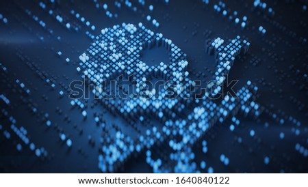 Blue digital Jolly Roger symbol. Internet scams or piracy concept. 3D rendering illustration with shallow depth of field Сток-фото ©