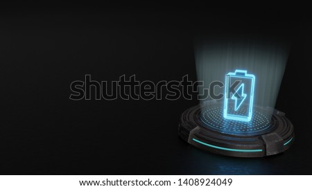 blue digital laser 3d hologram vertical vertical symbol of charging empty battery with flash render on old metal sci-fi pad background