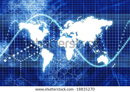 Blue Digital World Business Abstract With Graph Background