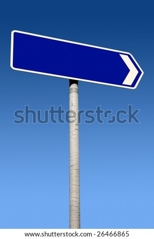 Blue direction sign with space for text.