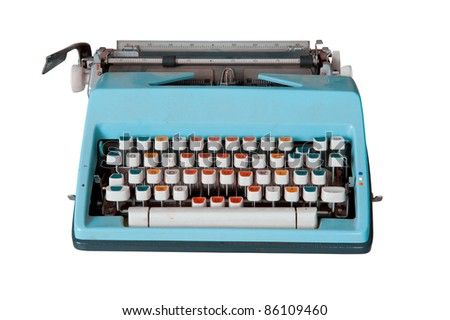Blue dirty Retro typewriter isolated  on white