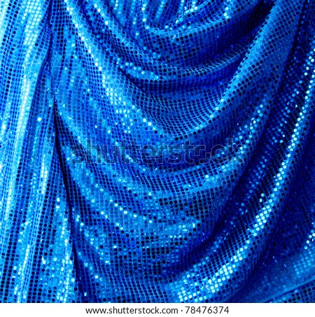 Blue disco glitter reflective fabric sparkling background