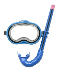 Blue Diving Mask and Snorkel Isolated on White Background.