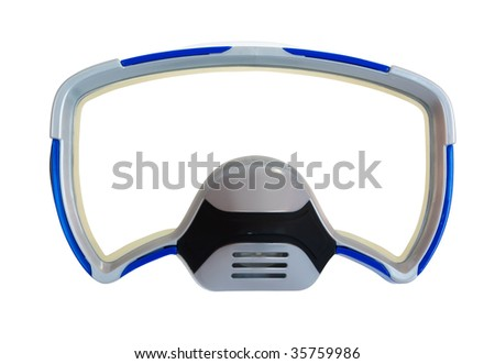 Blue diving mask as a frame isolated on white