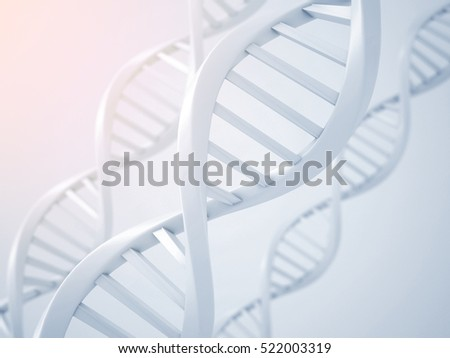 Blue Dna structure abstract background, 3D illustration.