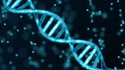 Blue DNA structure isolated background. 3D illustration, Science and technology abstract background and texture.