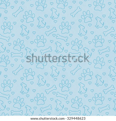 Blue Dog Paw Prints, Puppy, Bone and Hearts Tile Pattern Repeat Background that is seamless and repeats