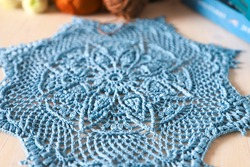 Blue doily. This photo has been taken in Prague, 2021