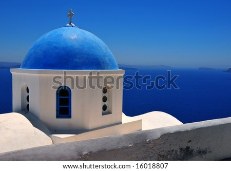 stock photo Blue dome in Santorini Greece