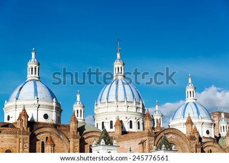 Shutterstock Blue domes of the cathedral in Cuenca, Ecuador