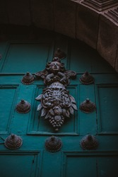 blue, door, door handle, building, culture, bronze, travel, vintage, statue, historic, landmark, heritage, traditional, asia, temple, ancient, tourism, old, architecture, peru, south america, latin am