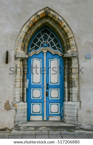 Blue door with Gothic arch