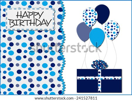 Blue Dots and Balloons Birthday Card