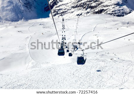 Blue downhill ropeway / funicular in the alps, austria