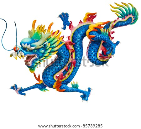 Blue dragon isolated on white background with clipping path