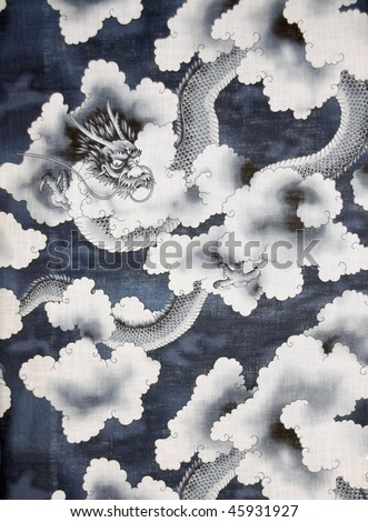 Blue Dragon on Fabric