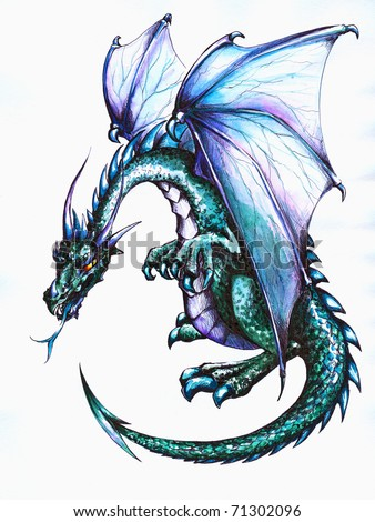 Blue dragon.Picture I have created with pen and colored pencils